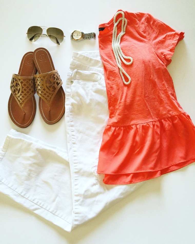 coral peplum top with white denim